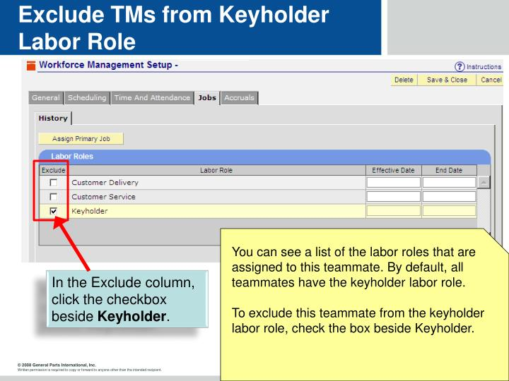 Exclude TMs from Keyholder Labor Role