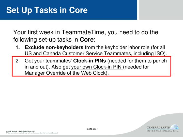 Set Up Tasks in Core