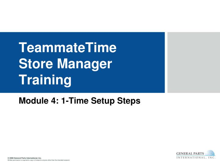 Teammatetime store manager training