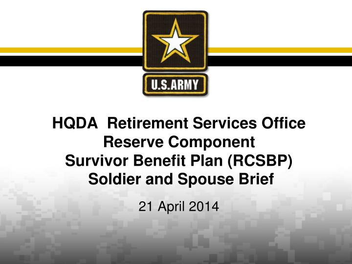 HQDA  Retirement Services Office