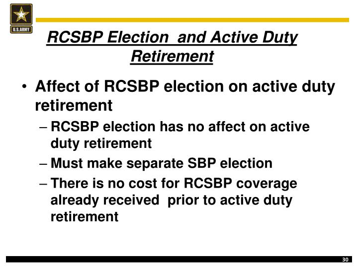 RCSBP Election  and Active Duty