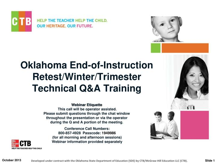 Oklahoma end of instruction retest winter trimester technical q a training