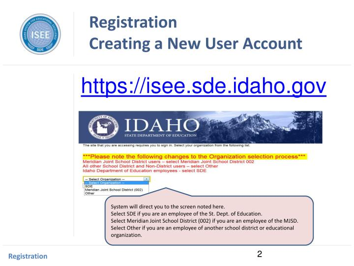 Registration creating a new user account