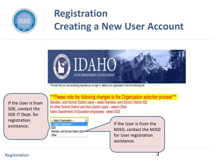 Registration creating a new user account1