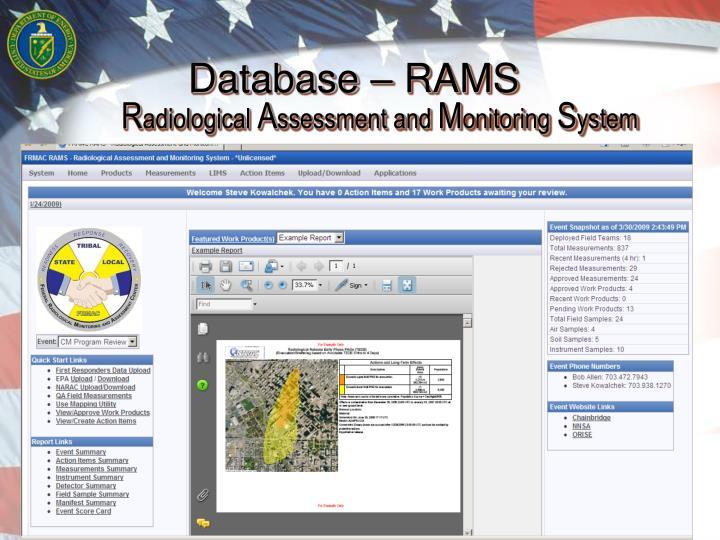 Database – RAMS
