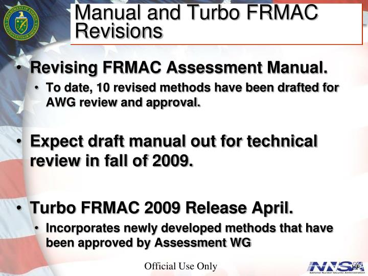 Manual and Turbo FRMAC Revisions