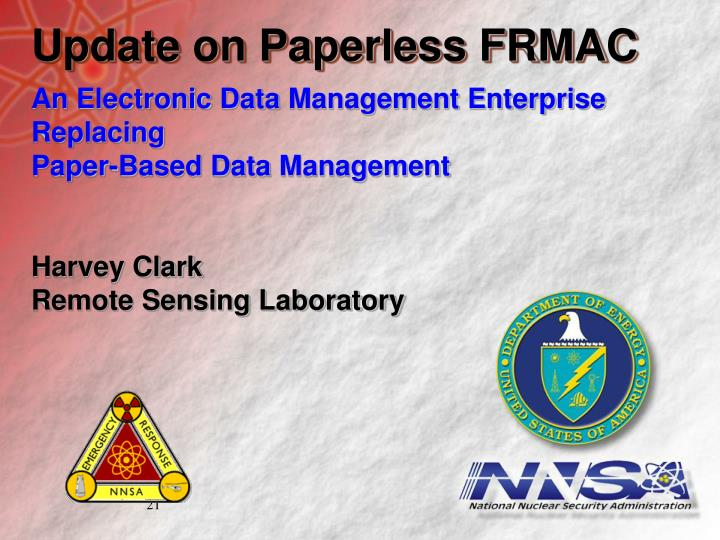 Update on Paperless FRMAC