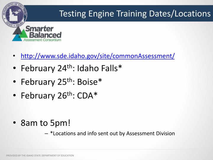 Testing Engine Training Dates/Locations