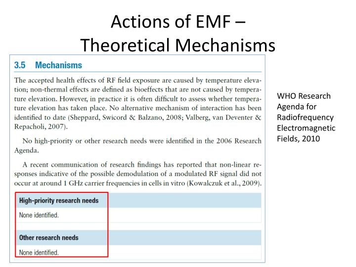 Actions of emf theoretical mechanisms