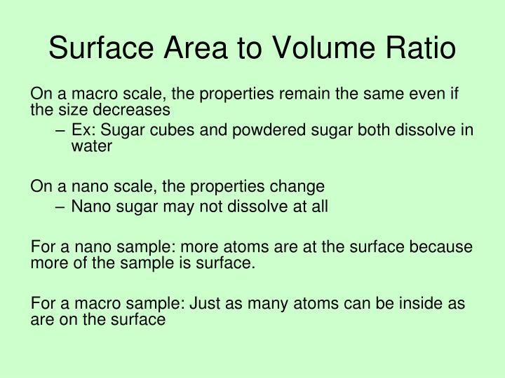 diffusion surface area to volume ratio and cube essay 3 using a metric ruler, determine the total surface area and the total volume of each agar cube note: if the cube is cut into eight pieces, the surface area for that cube is the sum of the surface areas for each of the eight pieces 4 record the calculated surface areas and volumes in table 1 5 use your answers from step 4 to calculate the surface-to-volume ratio divide the surface area.