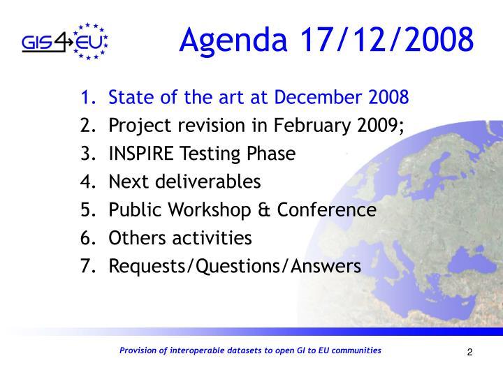 Agenda 17/12/2008