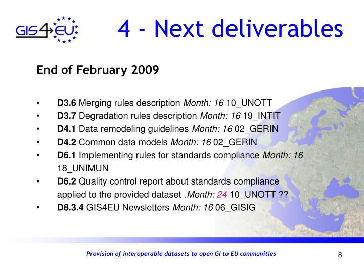 4 - Next deliverables
