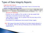 types of data integrity reports