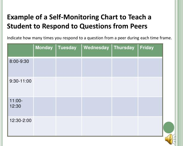 Example of a Self-Monitoring Chart to Teach a Student to Respond to Questions from Peers
