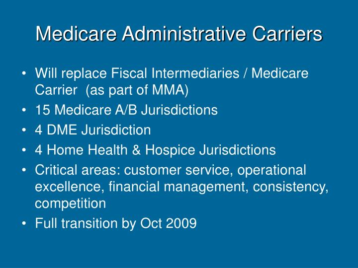 Medicare Administrative Carriers