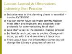 lessons learned observations informing best practices