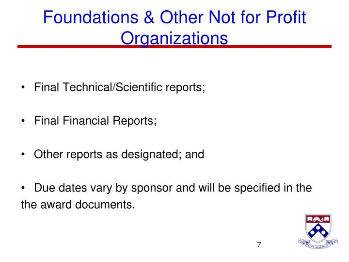 Foundations & Other Not for Profit Organizations