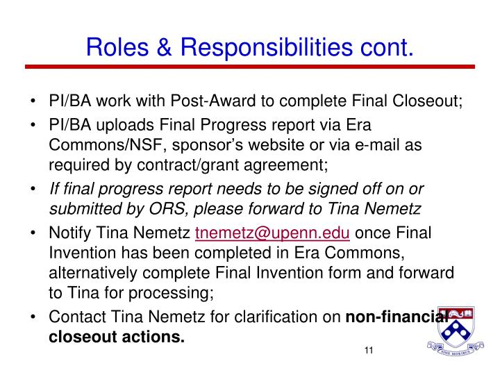 Roles & Responsibilities cont.
