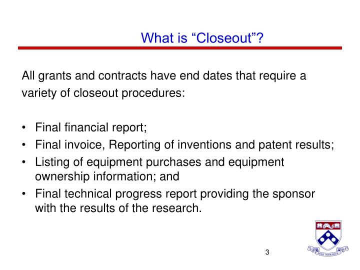 What is closeout1