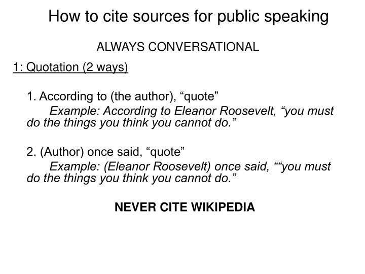 How to cite sources for public speaking