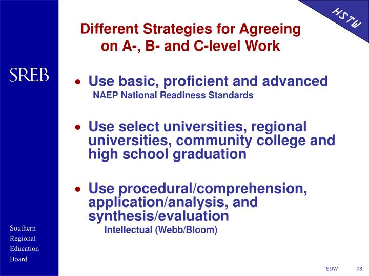 Different Strategies for Agreeing on A-, B- and C-level Work