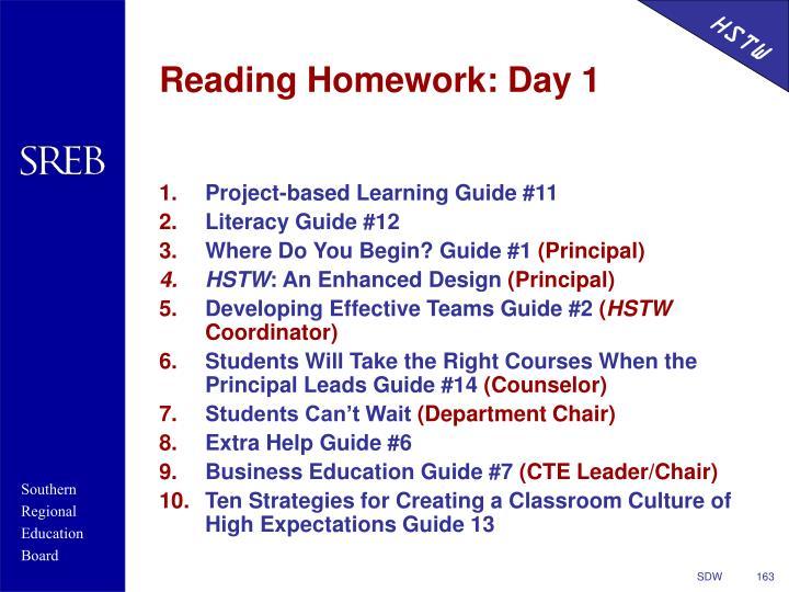 Reading Homework: Day 1