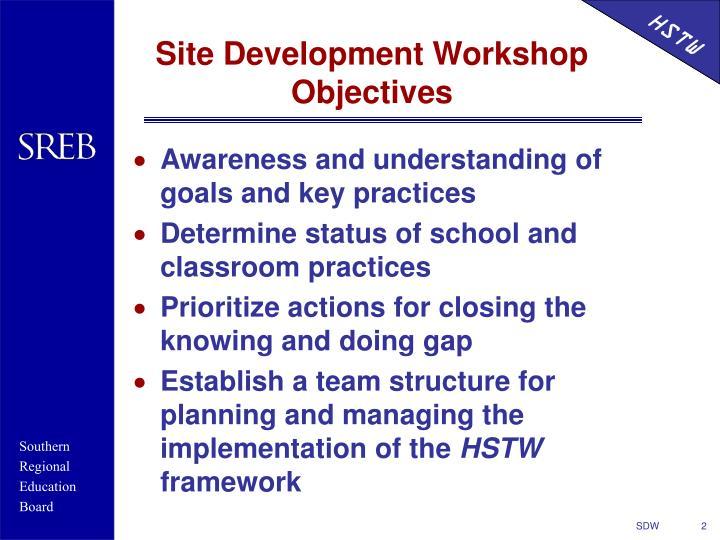 Site development workshop objectives