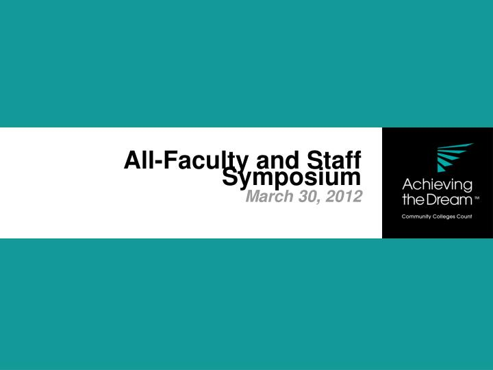 All faculty and staff symposium