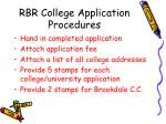 rbr college application procedures