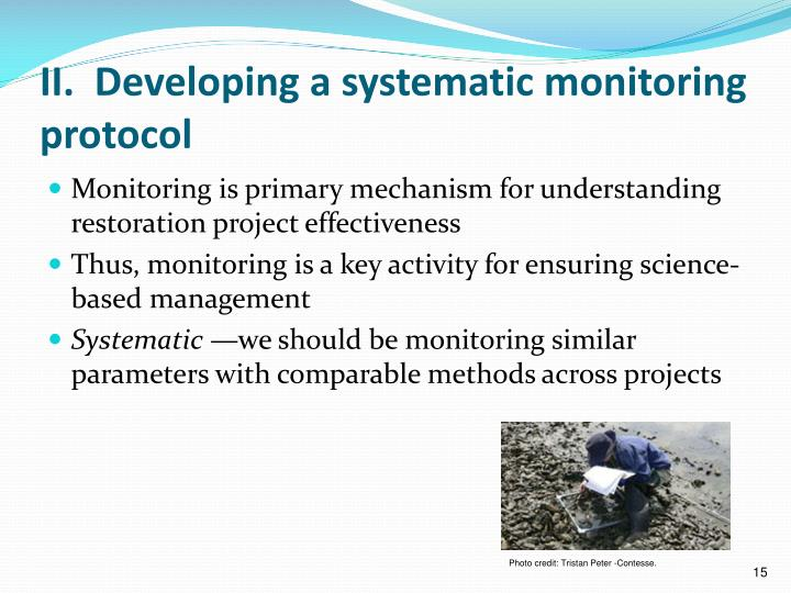 II.  Developing a systematic monitoring protocol