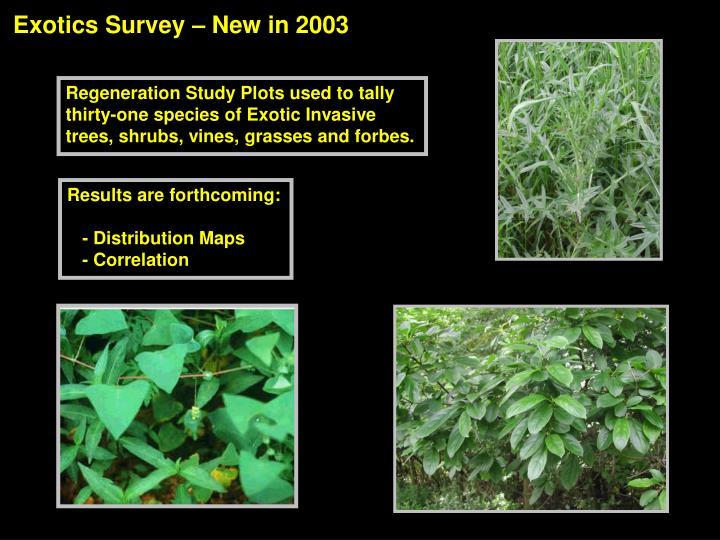 Exotics Survey – New in 2003