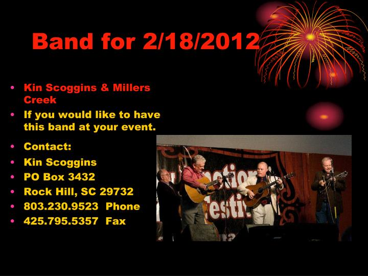 Band for 2/18/2012