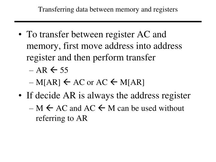 Transferring data between memory and registers