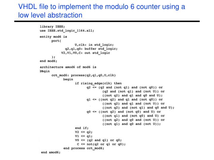 VHDL file to implement the modulo 6 counter using a low level abstraction