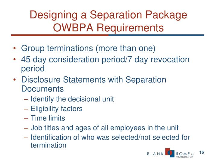 Designing a Separation Package OWBPA Requirements