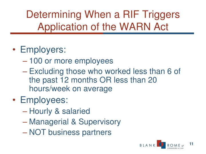 Determining When a RIF Triggers Application of the WARN Act