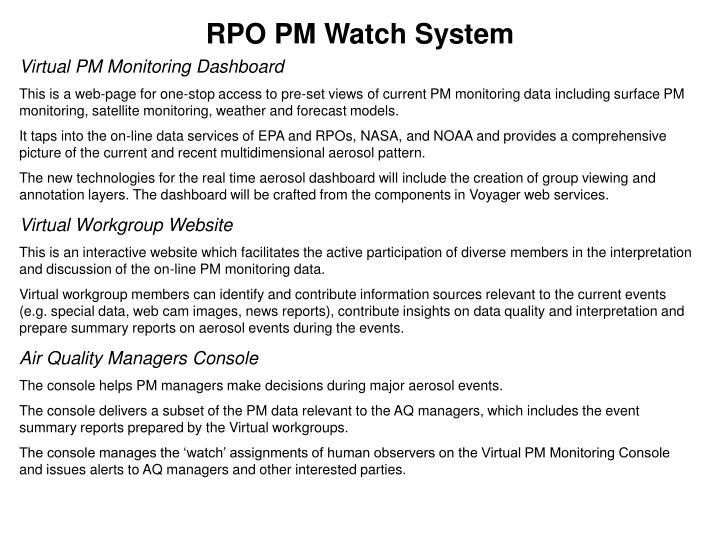 RPO PM Watch System