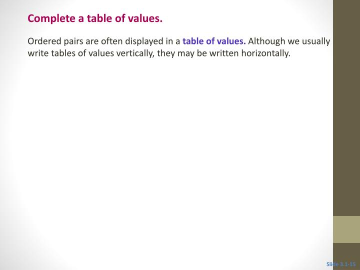 Complete a table of values.