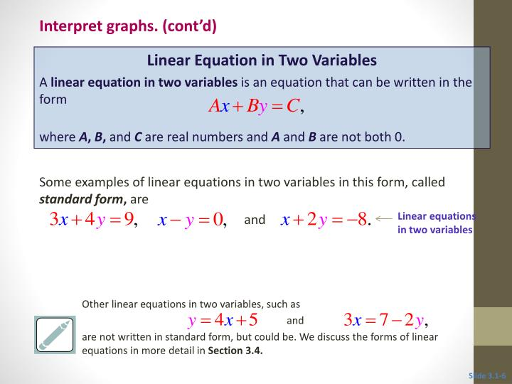 Some examples of linear equations in two variables in this form, called