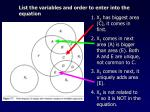 list the variables and order to enter into the equation