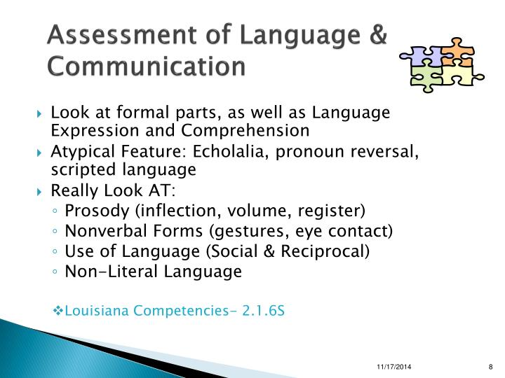 Assessment of Language & Communication