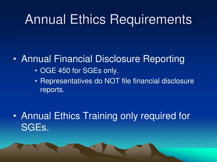 Annual Ethics Requirements
