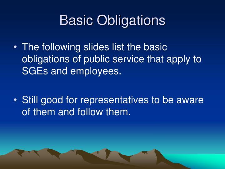 Basic Obligations