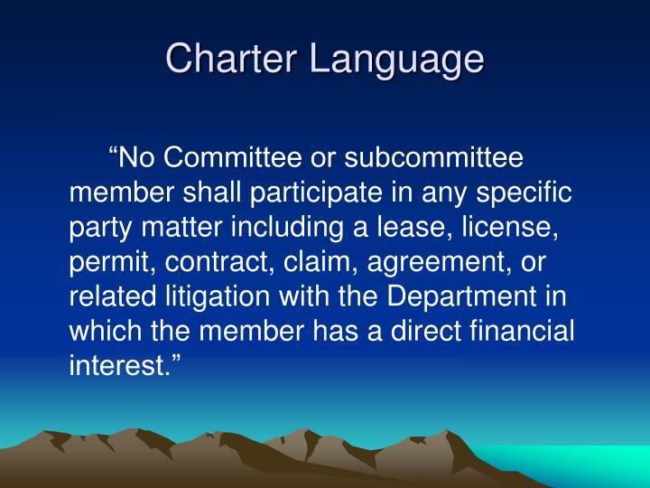 Charter Language