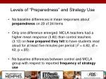 levels of preparedness and strategy use