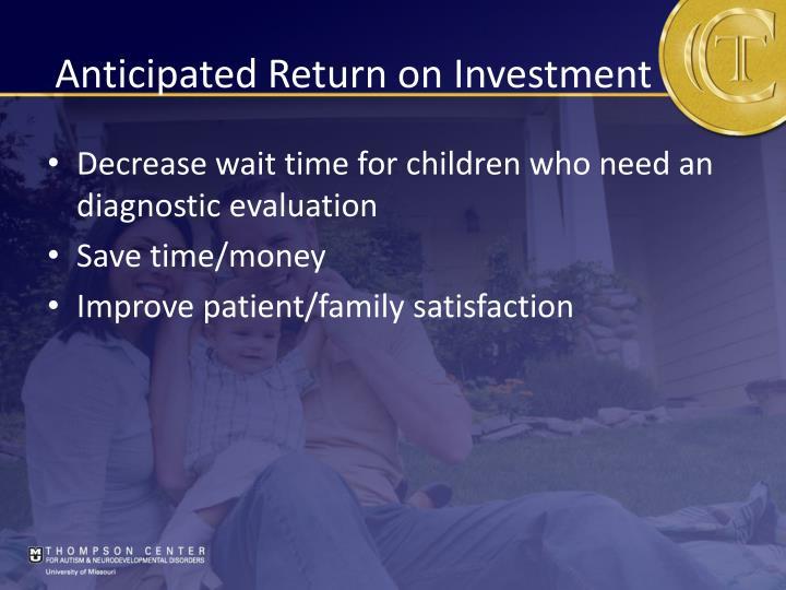 Anticipated Return on Investment