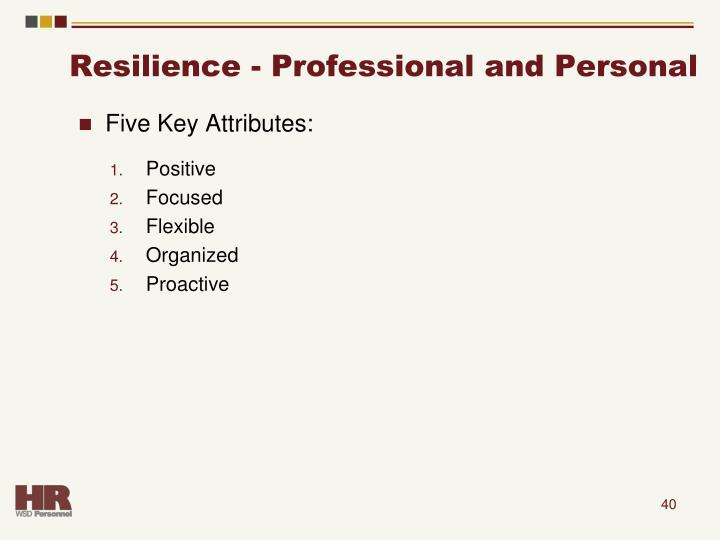 Resilience - Professional and Personal