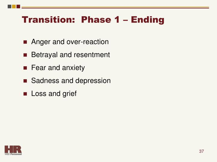 Transition:  Phase 1 – Ending