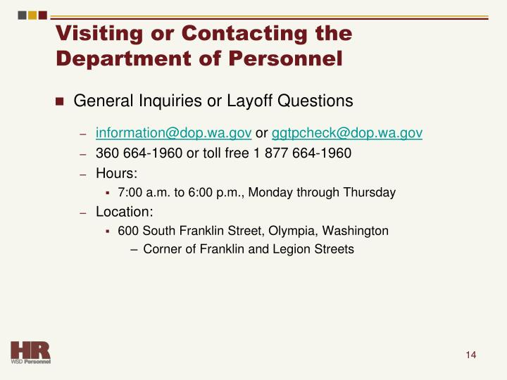 Visiting or Contacting the Department of Personnel