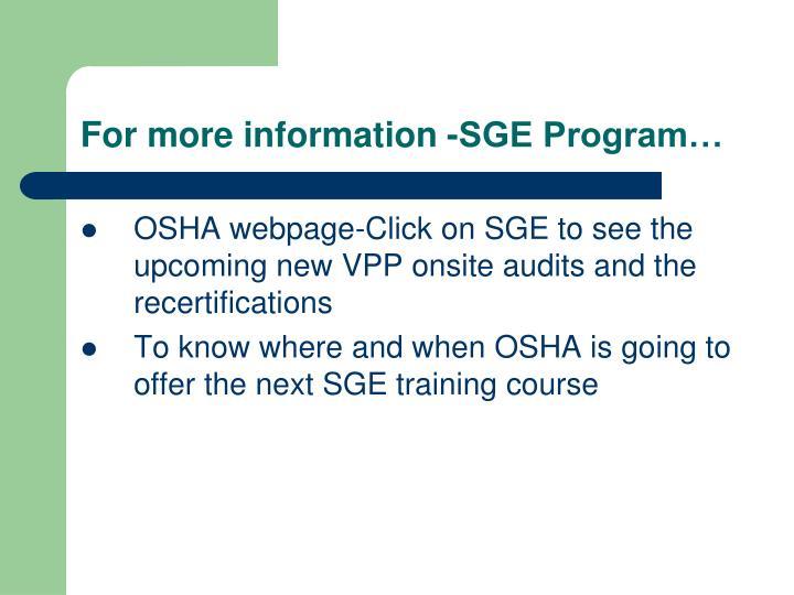 For more information -SGE Program…